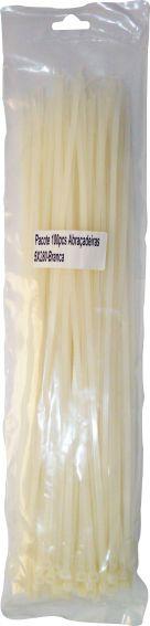 Abraçadeira 5x280 mm Branca de Nylon Pacote Com 100 Peças