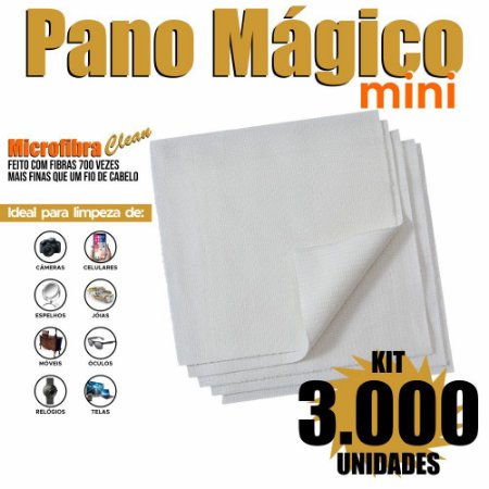 Kit 3000 Unidades Panos Mágicos Mini 9,8 x 9,8 cm
