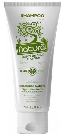 Shampoo Natural com Óleos de Coco e Argan - Orgânico Natural