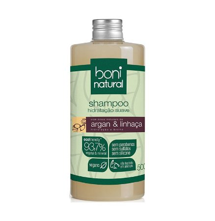 Shampoo Natural Low Poo Argan e Linhaça - Boni Natural