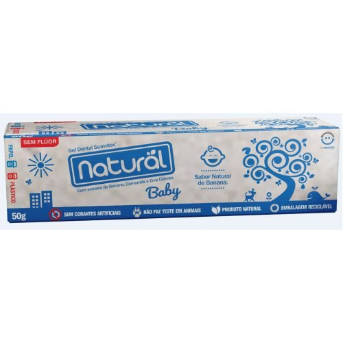 Gel Dental Natural Baby com Extratos de Banana, Camomila e Erva Cidreira