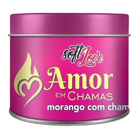 AMOR EM CHAMAS VELA HOT BEIJÁVEL MORANGO COM CHAMP. 50GR - SOFT LOVE