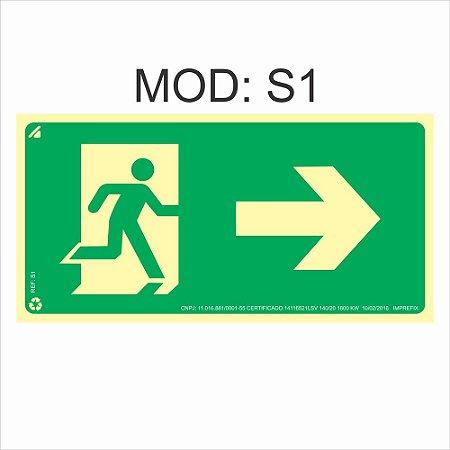 Placa Fotoluminescente S1 12x24cm Saída de Emergência à Direita Orientação de Salvamento e Segurança Rota de Fuga Imprefix