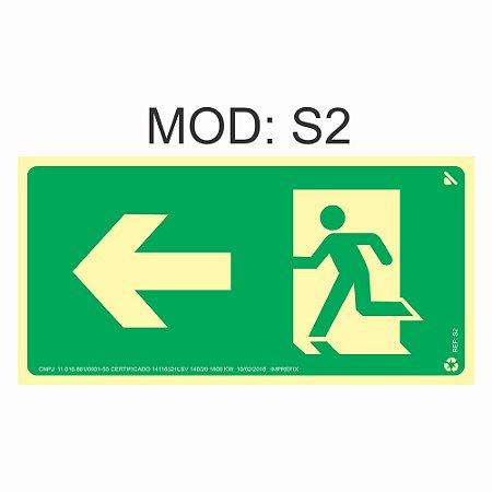 Placa Fotoluminescente S2 12x24cm Saída de Emergência à Esquerda Orientação de Salvamento e Segurança Rota de Fuga Imprefix