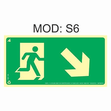 Placa Fotoluminescente S6 12x24cm Saída de Emergência Desde a Direita Orientação de Salvamento e Segurança Rota de Fuga Imprefix