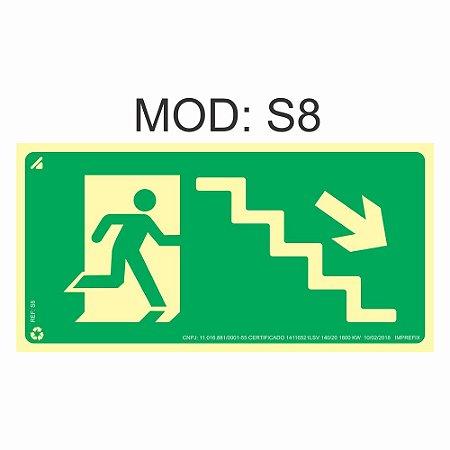 Placa Fotoluminescente S8 12x24cm Saída de Emergência Desde a Escada a Direita Orientação de Salvamento e Segurança Rota de Fuga Imprefix