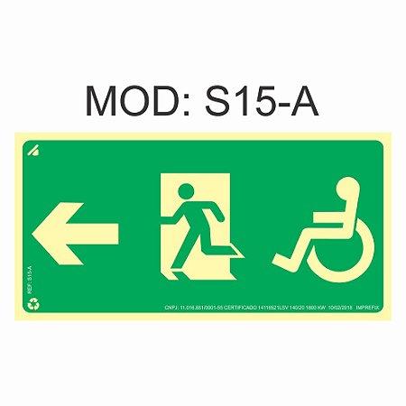 Placa Fotoluminescente S15-A 12x24cm Sinalização Cadeirante Saída de Emergência à Esquerda Orientação de Salvamento e Segurança Rota de Fuga Imprefix