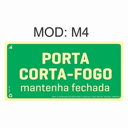Placa Fotoluminescente M4 12x24cm Porta Corta-Fogo Orientação de Salvamento e Segurança Rota de Fuga Imprefix