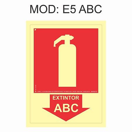 Placa Fotoluminescente E5 ABC Extintor 20x20cm Extintor Pó ABC Sinalização para Equipamentos Imprefix