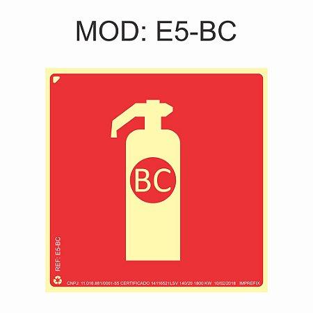 Placa Fotoluminescente E5 BC 20x20cm Extintor Pó BC Sinalização para Equipamentos Imprefix