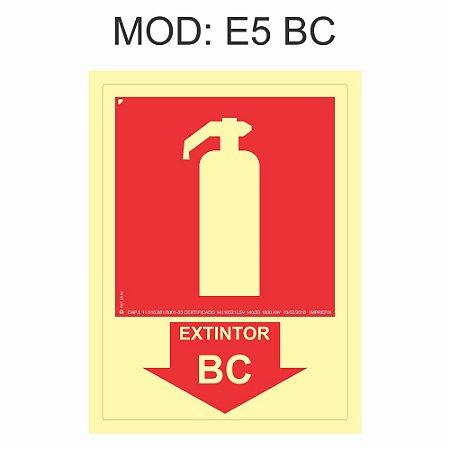 Placa Fotoluminescente E5 BC 15x20cm Indicação Extintor Pó BC Sinalização para Equipamentos Imprefix