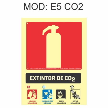 Placa Fotoluminescente E5 CO2 15x20cm Extintor gás carbônico (CO2) Sinalização para Equipamentos Imprefix