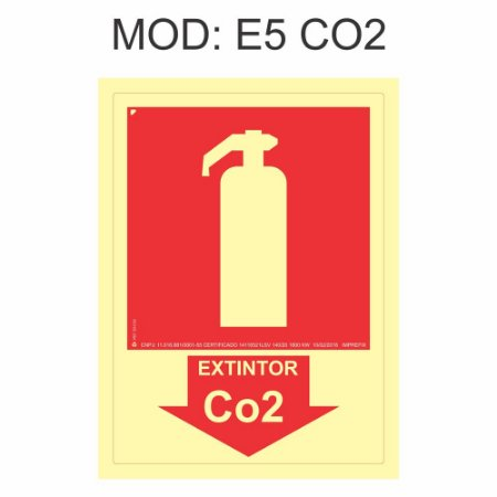 Placa Fotoluminescente E5 CO2 Indicação 15x20cm Extintor gás carbônico (CO2) Sinalização para Equipamentos Imprefix