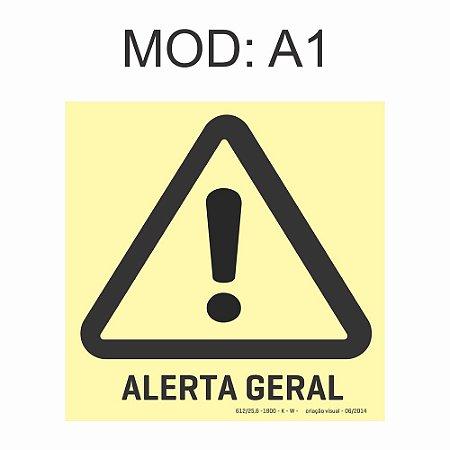 Placa Fotoluminescente A1 Alerta Geral 20x20cm Sinalização Alerta Geral Rota de Fuga Imprefix