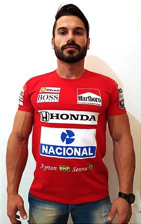 Camiseta Ayrton Senna Macacão De Corrida Camisa F1