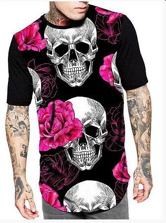 Camiseta Camisa Longline Estampa Full SKULL PINK ROSE
