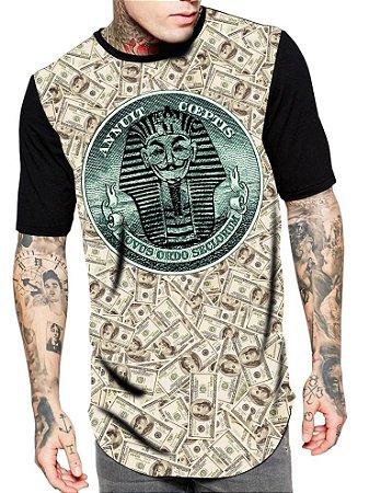 Camiseta Camisa Longline Estampa Full V de Vingança DOLLAR
