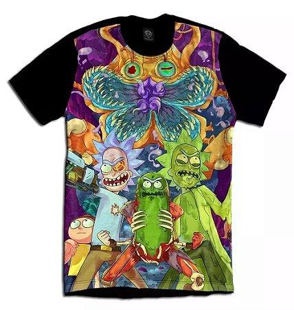 Camiseta Camisa Longline Estampa Full  Rick and Morty