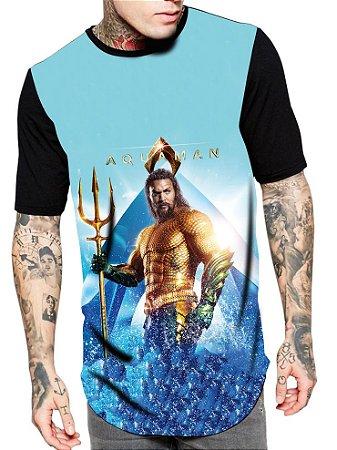 Camiseta Camisa Longline Estampa Full Aquaman Filme