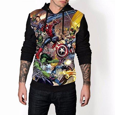 Blusa De Frio Super Herois Estampa Full Moletom Unissex REF 96