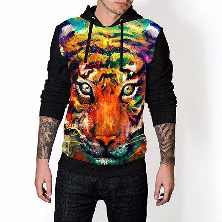 Blusa De Frio Tigre Colorful Full Moletom Unissex REF 130