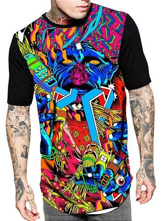Camiseta Camisa Longline Estampa Full Pisicodelico