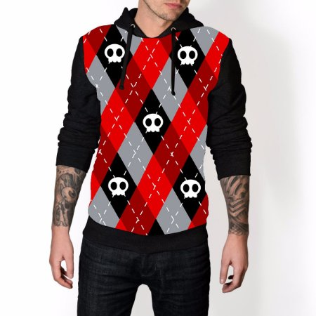 lusa De Frio Caveira Skull Red Estampa Full Moletom Unissex
