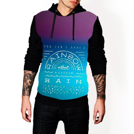 Blusa De Frio Rainbow Estampa Full Moletom Unissex