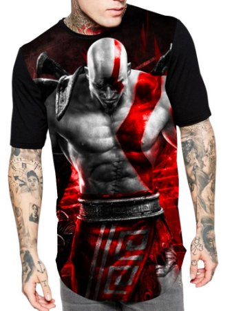 Camiseta Camisa Longline Estampa Full God Of War Unissex