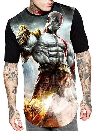 Camiseta Camisa Longline Estampa Full God Of War Unissex