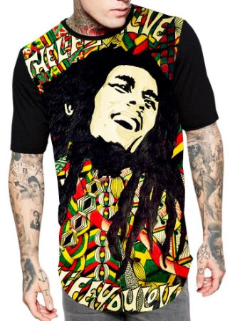 Camiseta Camisa Longline Estampa Full Bob Marley Unissex