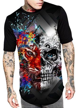 Camiseta Camisa Longline Estampa Full Tiger Skull Unissex