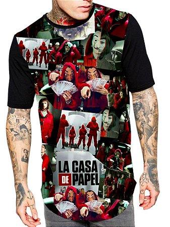 Camiseta Camisa Longline Estampa Full La Casa de Papel Unissex