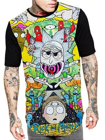 Camiseta Camisa Longline Estampa Full Rick e Morty Unissex