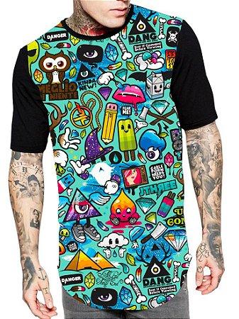 Camiseta Camisa Longline Estampa Full Cartoon Unissex