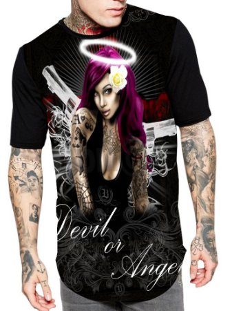 Camiseta Camisa Longline Estampa Full Devil or Angel Unissex