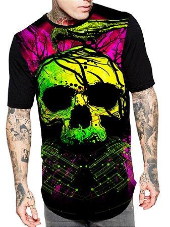 Camiseta Camisa Longline Estampa Full Skull Caveira Corvo Unissex