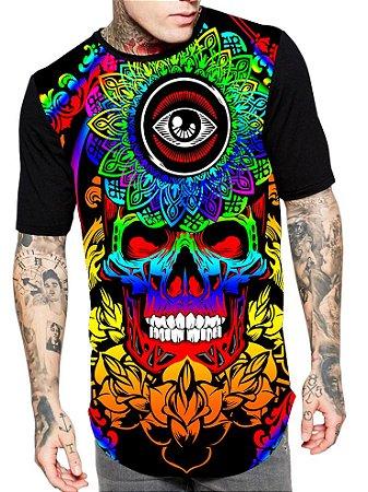 Camiseta Camisa Longline Estampa Full Skull Caveira Unissex Ref 207