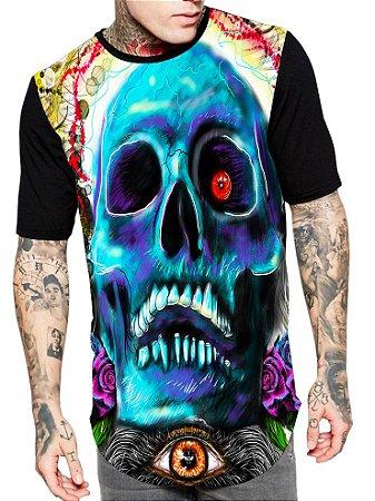 Camiseta Camisa Longline Estampa Full Skull Caveira Unissex