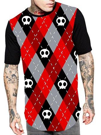 Camiseta Camisa Longline Estampa Full Skull Red Caveira Unissex