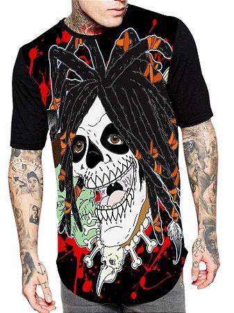Camiseta Camisa Longline Estampa Full Skull Caveira Rasta Unissex