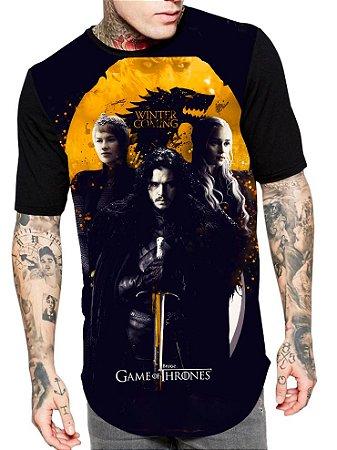 Camiseta Longline Estampa Full Game Of Thrones