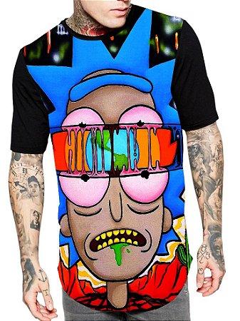 Camiseta Longline Estampa Full Rick e Morty
