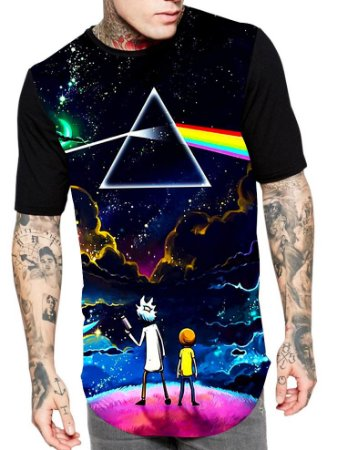 Camiseta Longline Estampa Full Rick e Morty