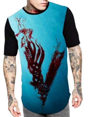 Camiseta Longline Estampa Full Vikings Serie