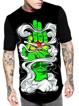Camiseta Longline Estampa Full Smoking Weeds