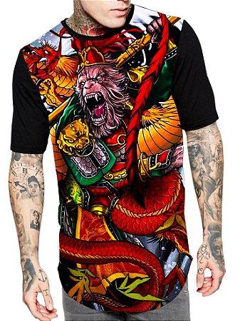 Camiseta Longline Estampa Full Monkey Macaco Rei