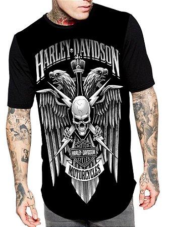 Camiseta Longline Estampa Full Moto Harley Davidson