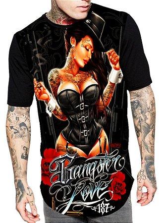 Camiseta Longline Estampa Full Mulher Gangster Love