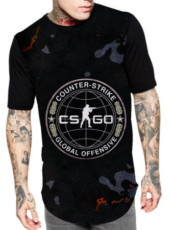 Camiseta Longline Estampa Full Cs Go Game Jogo